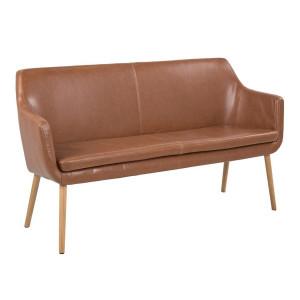 Canapea maro din lemn si poliuretan pentru 2 persoane Nora Actona Company