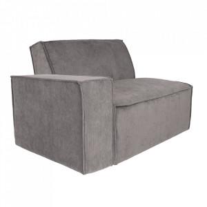 Canapea modulara gri din textil si metal 112 cm James Left Zuiver