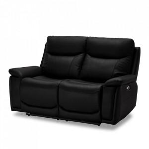 Canapea neagra din piele si metal pentru 2 persoane Bremen Furnhouse