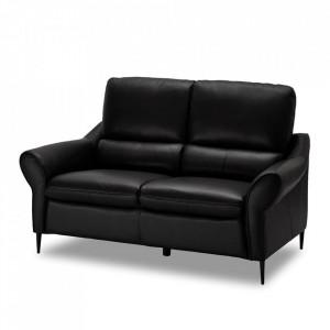 Canapea neagra din piele si metal pentru 2 persoane Sally Furnhouse