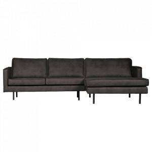 Canapea neagra din piele si poliester cu colt 300 cm Rodeo Right Be Pure Home