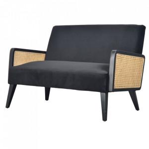 Canapea neagra din poliester si lemn pentru 2 persoane Sydney Opjet Paris