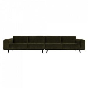 Canapea verde din poliester si lemn de mesteacan pentru 4 persoane Statement XL Be Pure Home
