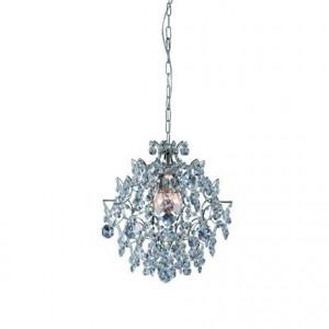 Candelabru transparent/argintiu din cristal si metal cu 3 becuri Rosendal Chrome Markslojd