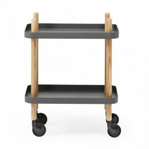 Carucior gri/maro din lemn de frasin si otel Block Table Normann Copenhagen
