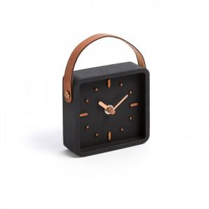 Ceas de masa negru din polirasina 12x12 cm Mercy La Forma