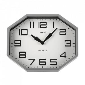 Ceas de perete octagonal gri din plastic 26x32 cm Noah Versa Home