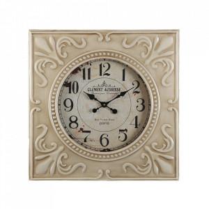 Ceas de perete patrat crem/alb din metal 60x60 cm Clement Versa Home