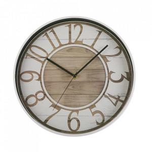 Ceas de perete rotund alb/maro din plastic 30 cm Sizzla Versa Home