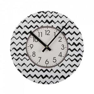 Ceas de perete rotund alb/negru din lemn 29 cm Lauren Versa Home