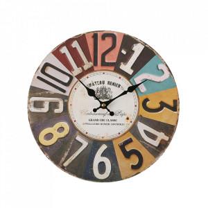 Ceas de perete rotund multicolor din metal 28 cm Renier Versa Home