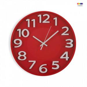 Ceas de perete rotund rosu/alb din plastic 30 cm Red Kitchen Clock Versa Home