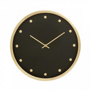 Ceas negru/auriu din inox si alama 30 cm pentru perete Carat Nordal
