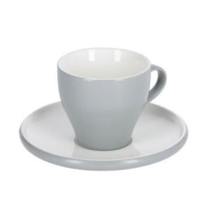 Ceasca cu farfurioara alba/gri din ceramica 200 ml Sadashi Kave Home