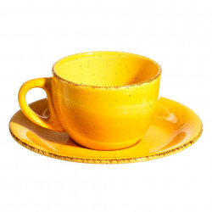 Ceasca cu farfurioara galbena din ceramica 180 ml Lincombe Ixia