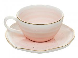 Ceasca roz cu farfurioara din portelan 250 ml Handmade Pink Santiago Pons