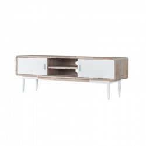 Comoda TV alba din lemn de salcam si MDF 165 cm Florence Somcasa