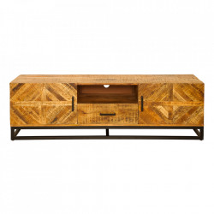 Comoda TV maro din lemn de mango si metal 160 cm Infinity Invicta Interior