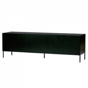 Comoda TV neagra din lemn de pin si metal 180 cm Gravure Woood