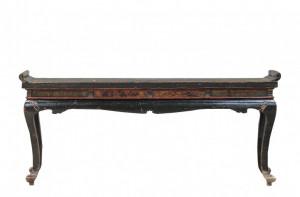 Consola neagra din lemn cu detalii florale 210x43cm Qinghai Large Versmissen