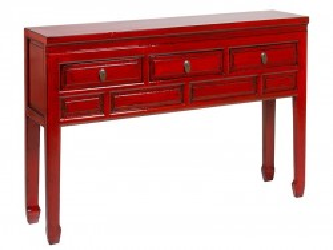 Consola rosie din lemn de ulm 128 cm Red Oriental Santiago Pons