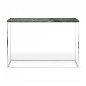 Consola verde/argintie din marmura si otel 120 cm Gleam TemaHome
