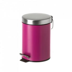 Cos de gunoi rosu bordo/argintiu din metal 3 L Burna Unimasa
