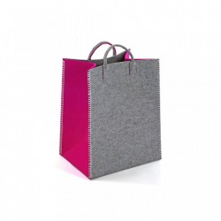 Cos gri/fucsia din textil Fuchsia Rectangle Basket Versa Home