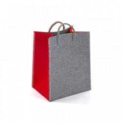 Cos gri/rosu din textil Red Rectangle Basket Versa Home