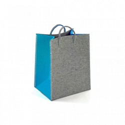 Cos gri/turcoaz din textil Turquoise Rectangle Basket Versa Home