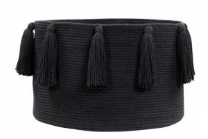 Cos negru din bumbac Tassels Black Lorena Canals