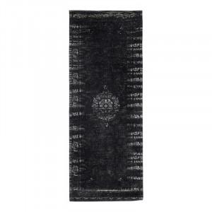 Covor gri inchis/negru din bumbac si poliester 75x200 cm Grand Nordal