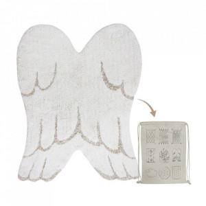 Covor ivoriu/gri perlat din bumbac 75x100 cm Mini Wings Lorena Canals