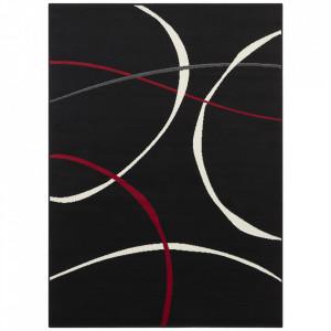 Covor negru/rosu din polipropilena Retro Design The Home (diverse dimensiuni)
