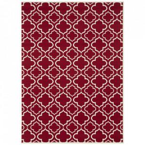 Covor rosu/crem din polipropilena Retro Geometric The Home (diverse dimensiuni)