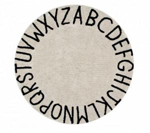 Covor rotund crem/negru din bumbac pentru copii 150 cm ABC Natural-Black Lorena Canals