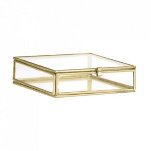 Cutie aurie din fier si sticla pentru bijuterii Quadratic Madam Stoltz
