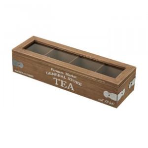 Cutie pentru ceaiuri din MDF si sticla Tea General Store Unimasa
