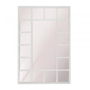 Decoratiune cu oglinda alba din lemn pentru perete 69x102 cm Fernao Rectangle LifeStyle Home Collection