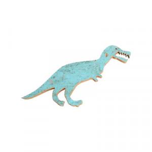 Decoratiune de perete albastra din lemn reciclat 20x50 cm Dinosaur Raw Materials