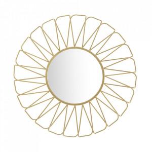 Decoratiune de perete cu oglinda aurie din fier 96 cm Rays Mauro Ferretti