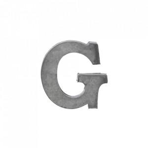 Decoratiune gri din fier 5,5 cm Letter G Madam Stoltz
