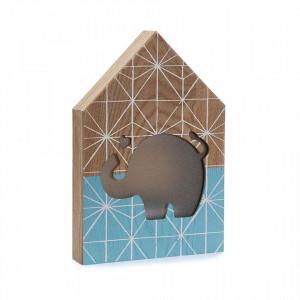 Decoratiune luminoasa albastra/maro din lemn Elephant Light Versa Home