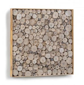 Decoratiune maro din lemn pentru perete 49x49 cm Jimmy La Forma
