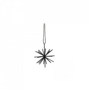 Decoratiune suspendabila neagra din fier si piele Star Strap Mini Hubsch