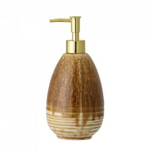 Dispenser sapun lichid maro din ceramica 10x21 cm Assi Bloomingville