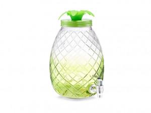 Dozator transparent/verde din sticla si metal pentru bauturi 4,5 L Pineapple Dispenser Zeller