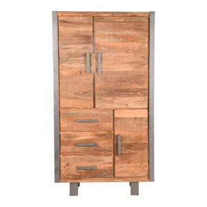 Dulap gri/maro din metal si lemn 185 cm Factory LABEL51