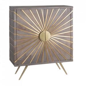 Dulapior auriu din lemn si metal Feullie Denzzo