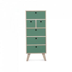 Dulapior maro/verde din lemn si placaj Star Weekboard Thyme Opjet Paris